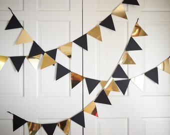 Bunting Banner for Black and Gold Party Decor.  Handcrafted in 2-5 Business Days.  Pennant Banner.  Photo Backdrop.
