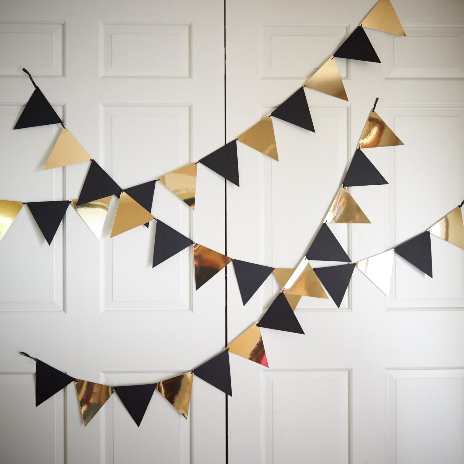 Bunting Banner For Black And Gold Party Decor. Handcrafted In