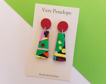 Polymer Clay Earrings 'Tropical Rainforest'/drop dangle