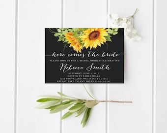 Here comes The Bride Yellow Sunflower Watercolor Bridal Shower Invitation Hens Party Wedding Party Invitation Floral Invitation