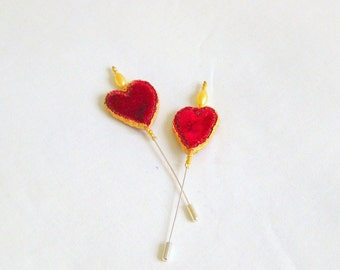 Hat shawl pin red velvet chunky fabric heart 5 inch Danish