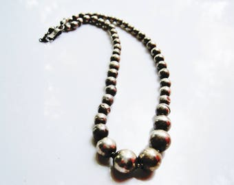 Silver Ball Necklace Vintage Mexico Choker Mexican Jewelry