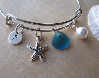 Adjustable bracelet teal green sea glass bridesmaid bracelet starfish charm personalized letter charm beach wedding bridesmaid gift blue