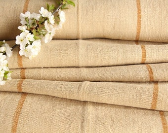 SP 65:  antique, handloomed,faded CARAMELL, wedding decor, holiday feeling, 7.65 yards , french lin, cushion, pillow, tablerunner