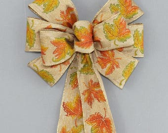 Golden Fall Leaves Wreath Bow  - Maple Leaves Fall Bow, Fall Decorations, Thanksgiving Decorations