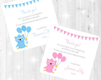Cute Baby Owl Design Christening/Baptism Thank You Cards - Printed with Envelopes - Pink Blue - Boy Girl - Personalised Stationery