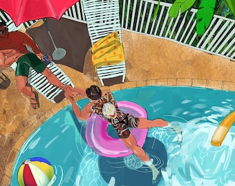 Majima and Kiryu have a pool party print