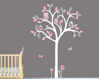 White Tree Wall Decal, Girl Owl tree wall decal, Pink and grey wall decal, Owl tree wall sticker, Girl Owl Nursery, Shades of Pink Design