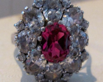 Super Sterling Silver Size 7 Cut Red Corundum Stone With Cut CZ's Ring