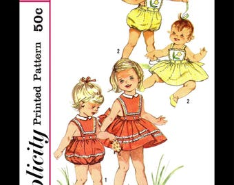 SIMPLICITY 3986 Summer PLAYSUIT Romper Sewing Pattern 1950's Baby Kids Child Girl's Beach Sunsuit Play Suit Playsuit *REPRODUCTION*~1~2~3