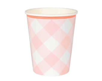 Pink Gingham Cups, Meri Meri Pink Party Cups, Paper Cups (12), Girl Baby Shower, Easter, Spring, Blush Pink Cups, Princess Party Supplies