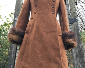 Vintage Wool Coat/ Penny Lane Coat/ Long Wool Coat/ Boho Coat/ Bohemian Coat