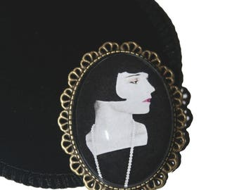 Bronze brooch cabochon 30X40mm LOUISE BROOKS