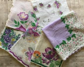 Lovely Assortment of Vintage Hankies - Lavender Florals - 6