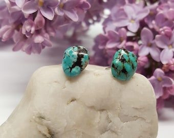 Turquoise Stud Earrings/ Turquoise Earrings/Turquoise Posts/Natural Gemstone Studs/Turquoise Gemstone Posts/Turquoise Gemstone Stud Earrings