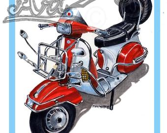 Vespa T5 mod scooter art print by marshys art scooter art print