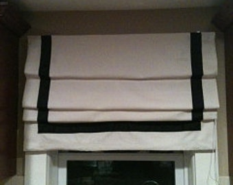Flat Roman shade with ribbon trim