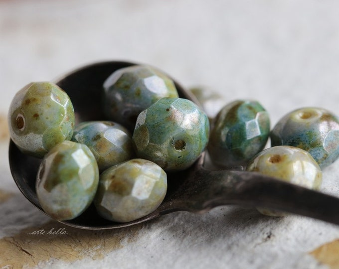 SPRING MEADOW .. 10 Premium Picasso Czech Glass Beads 6x9mm (5048-10)