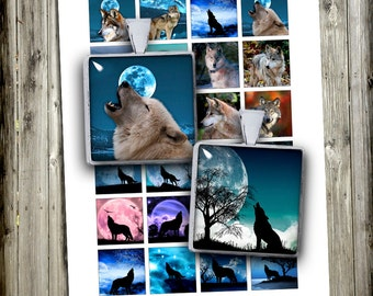 Wolves Square images - Instant Download 1.5x1.5 inch 1x1 inch Printable Images - Digital Collage Sheets