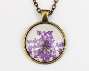 Purple pressed flower necklace