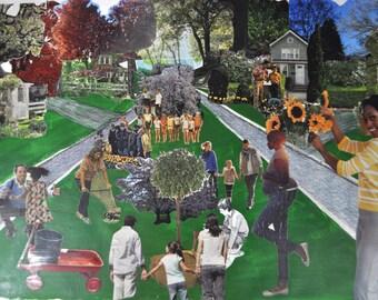 Community Tree Planting. Original Collage.