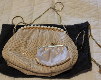 Vintage gold and white lizard evening bag by Judith Leiber