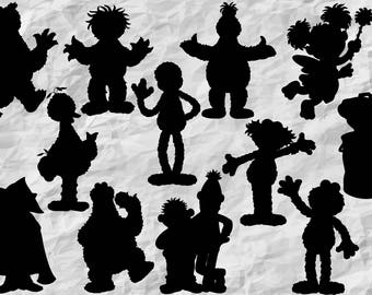 12 Sesame Street Silhouettes, SVG cut files, printable, instant download, vector cliparts
