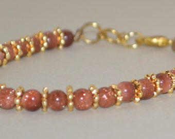 Shimmery Chestnut Brown and Gold Beaded Bracelet