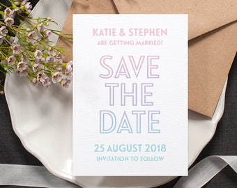 Unicorn Ombre Save the Date / 'Ombré' Modern Wedding Card / Just Engaged / Pastel Pink Lilac Blue / Custom Colours Available / ONE SAMPLE