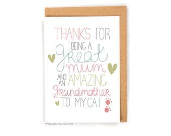 Mothers day card funny mum card, grandmother, birthday, mother, mom, mum, cat gran, mums day, great cat mum cat grandma fur baby granny