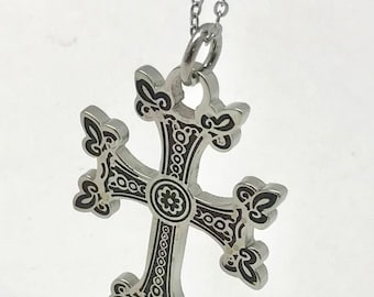 Khachkar Armenian Cross Pendant  Stainless Steel with 22 inch Necklace Chain