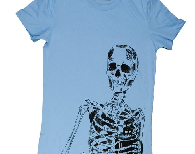 Womens T Shirt - Skeleton TShirt - Coffee Tee - Coffee Drinker Graphic Tees - Spooky Tshirt - Light Blue Skeleton Ladies Tee - Goth Tshirt