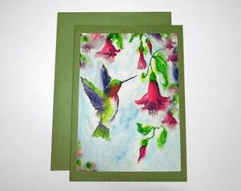 Hummingbird Watercolor Print on Handmade Paper, Blank Note Card