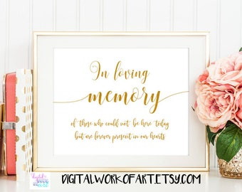 Gold In Loving Memory Wedding Printable Sign, DIY Rustic Wedding Reception Table Decor Sign, Instant Download, 8x10 PDF, #SG