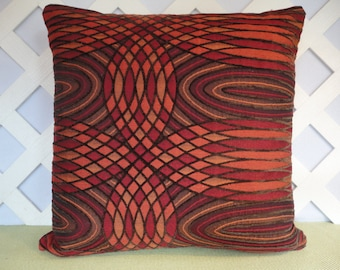 Geometric Pillow Cover in Orange Red Brown / Abstract Pillow Cover / Orange Red Pillow / Accent Pillow / Decorative Pillow / 18 x 18 Pillow