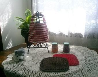 Little Cowboy Hand Knit Baby Bib and Washcloth Set