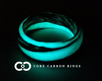 Carbon Fiber Teal and Black Marbled Glow Ring