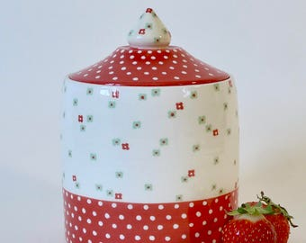 Red with white dots and flowers ceramic box