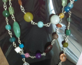 Multi Gem Long Necklace with Toggle Clasp