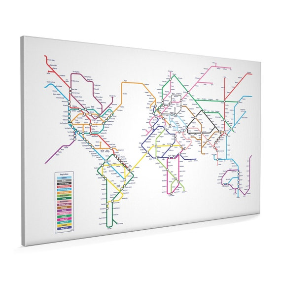 World map as a tube metro system canvas art print 22x34 inch like this item gumiabroncs Gallery