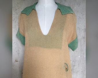 1920s Casual Dress with Lipstick Pockets * Mint and Cream 1920s Dress