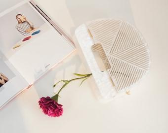 Bamboo White Geometrical Acrylic Ark Handbag