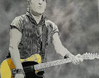 Bruce Springsteen Painted on Canvas
