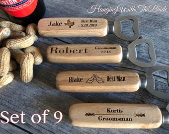 Set of 9 Personalized Bottle Opener, Groomsmen Gift, Wedding Gift, Engraved Wood opener, Custom Bottle Opener, Christmas gifts