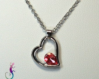 Chain + A191 pink Crystal heart pendant