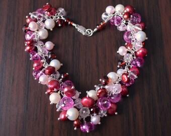 Valentines Day Jewelry, Gemstone Pearl, Cluster Bracelet, Morganite Garnet Pink Topaz, Sterling Silver - Lots of Love - Free Shipping