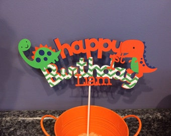 Happy Birthday Dinosaur Cake Topper with added name and age