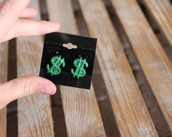 Cash Money Green Glitter Stud Earrings/cash/Money