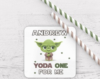 Personalised yoda one for me coaster, valentines coaster, star wars themed coaster, yoda one for me coaster, personalized star wars coaster