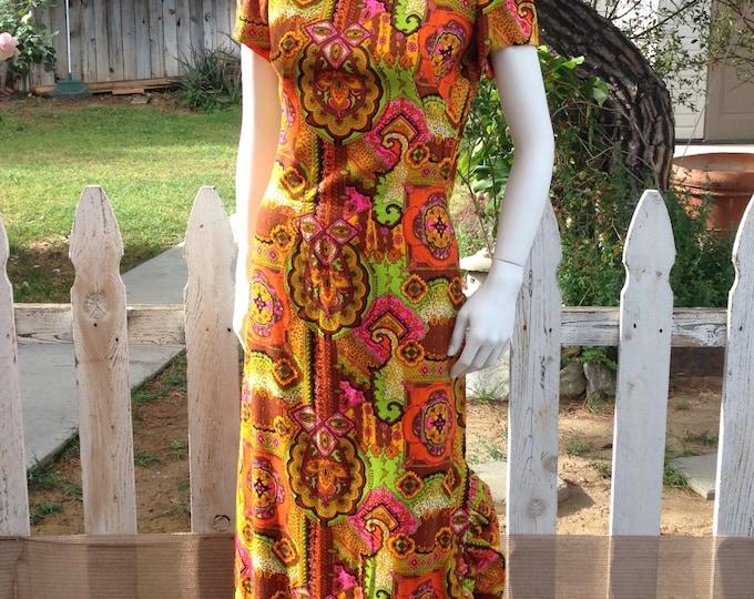 Vintage 60s Aloha Hawaiian Tiki Dress Green Orange Pink Floral Paisley Psychedelic Handmade Womens Short Sleeve Maxi Dress